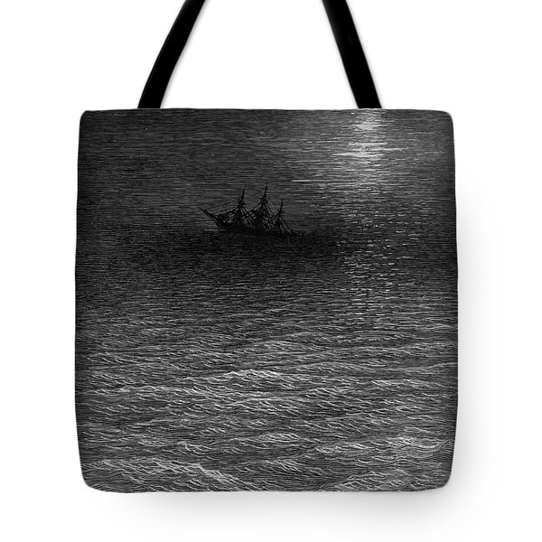 The Marooned Ship In A Moonlit Sea Tote Bag by Gustave Dore