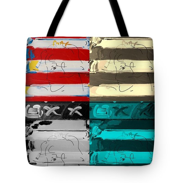 The Max Face In Quad Colors Tote Bag by Rob Hans