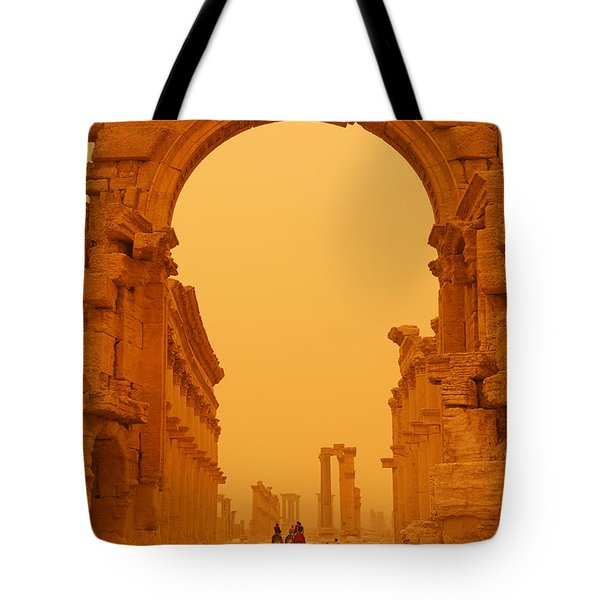 The Monumental Arch At Palmyra Syria In The Light After A Sandstorm Tote Bag by Robert Preston