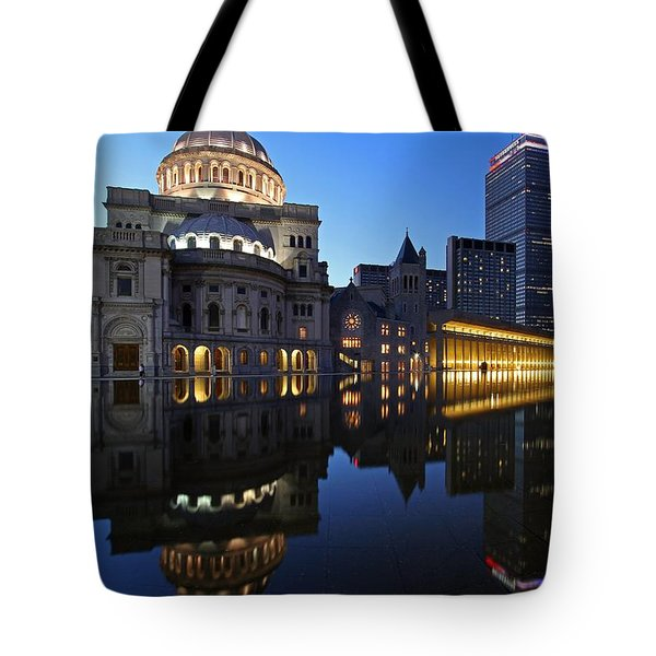 The Mother Church And The Pru Tote Bag by Juergen Roth