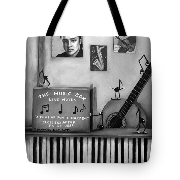 The Music Box Bw Tote Bag by Leah Saulnier The Painting Maniac