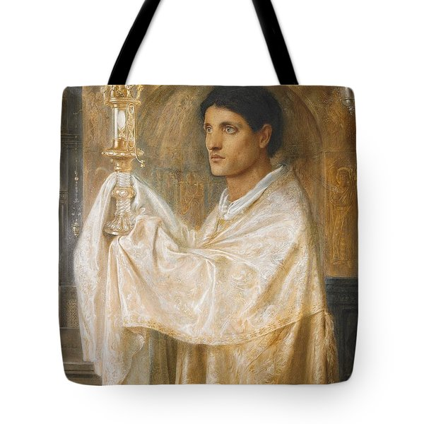 The Mystery Of Faith Tote Bag by Simeon Solomon
