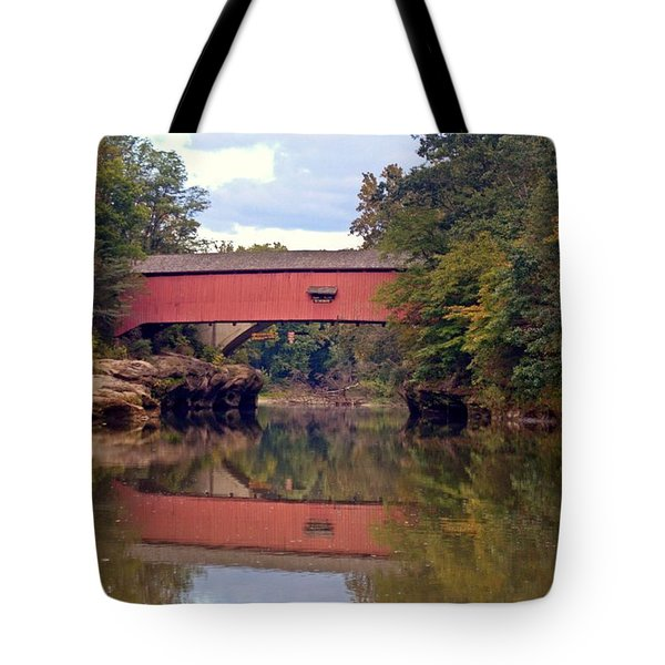The Narrows Covered Bridge 4 Tote Bag by Marty Koch