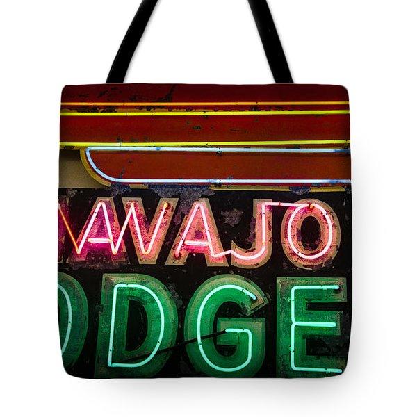 The Navajo Lodge Sign in Prescott Arizona Tote Bag by David Patterson