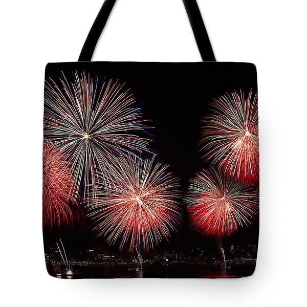 The New York City Skyline All Lit Up Tote Bag by Susan Candelario