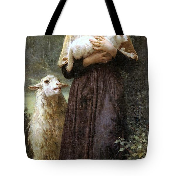 The Newborn Lamb Tote Bag by William Bouguereau