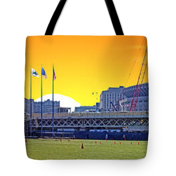 The Old and New Yankee Stadiums Side by Side at Sunset Tote Bag by Nishanth Gopinathan