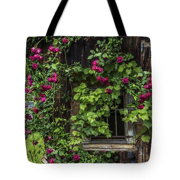 The Old Barn Window Tote Bag by Debra and Dave Vanderlaan