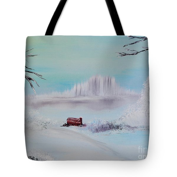 The Old Red Barn In Winter Tote Bag by Alys Caviness-Gober