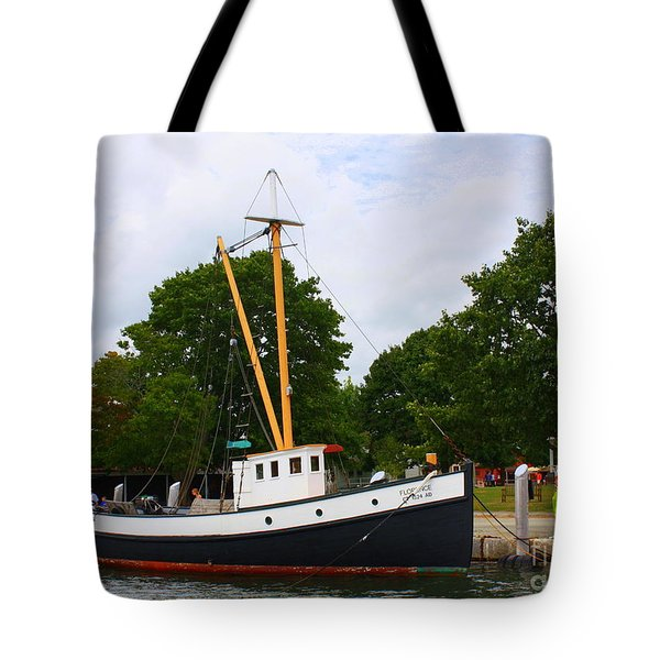 The Old Tugboat At Mystic Tote Bag by Dora Sofia Caputo Photographic Art and Design