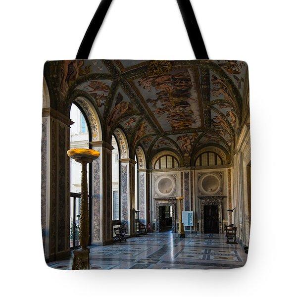 The Opulent Loggia In Villa Farnesina Rome Italy - 1 Tote Bag by Georgia Mizuleva