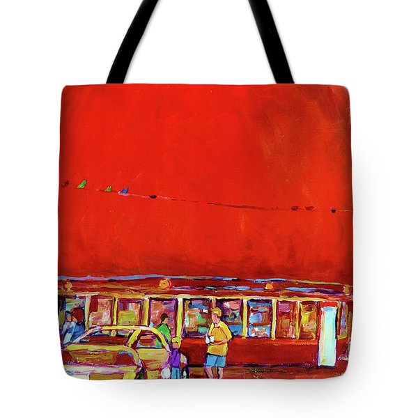 THE ORANGE JULEP MONTREAL SUMMER CITY SCENE Tote Bag by CAROLE SPANDAU