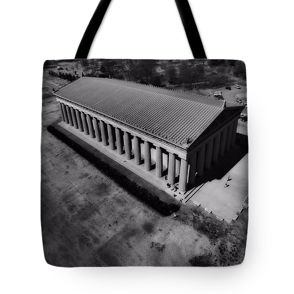 The Parthenon In Black And White Tote Bag by Dan Sproul