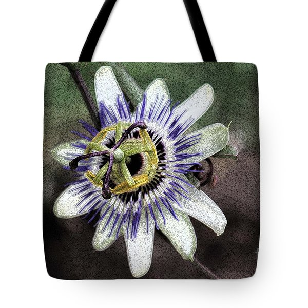 The Passion Flower in Abstract Tote Bag by Janice Rae Pariza