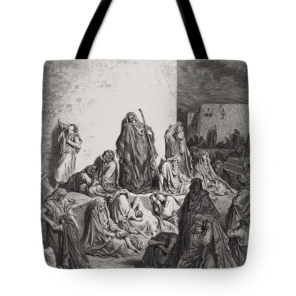 The People Mourning Over The Ruins Of Jerusalem Tote Bag by Gustave Dore