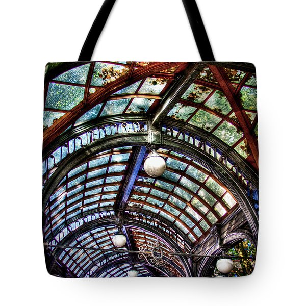 The Pergola Ceiling In Pioneer Square Tote Bag by David Patterson