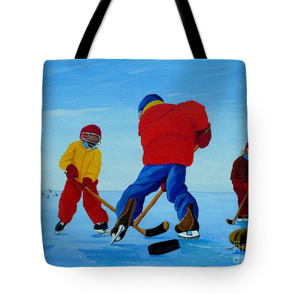 The Pond Hockey Game Tote Bag by Anthony Dunphy