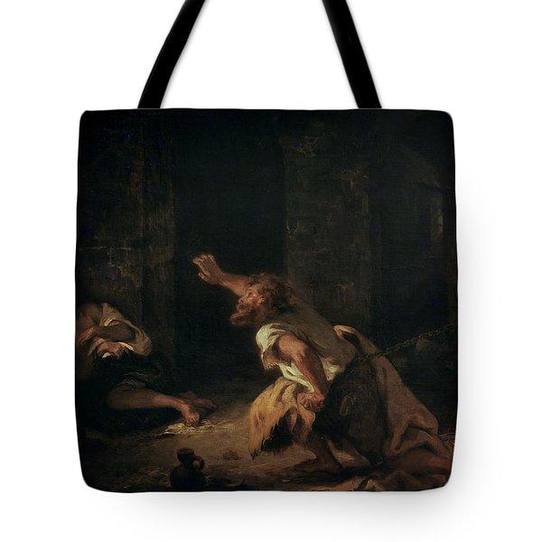 The Prisoner Of Chillon Tote Bag by Ferdinand Victor Eugene Delacroix