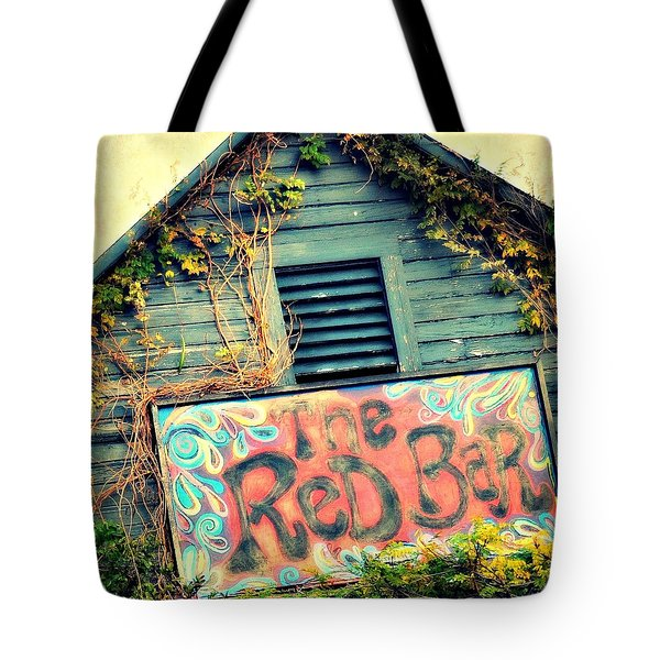 The Red Bar Tote Bag by Toni Abdnour