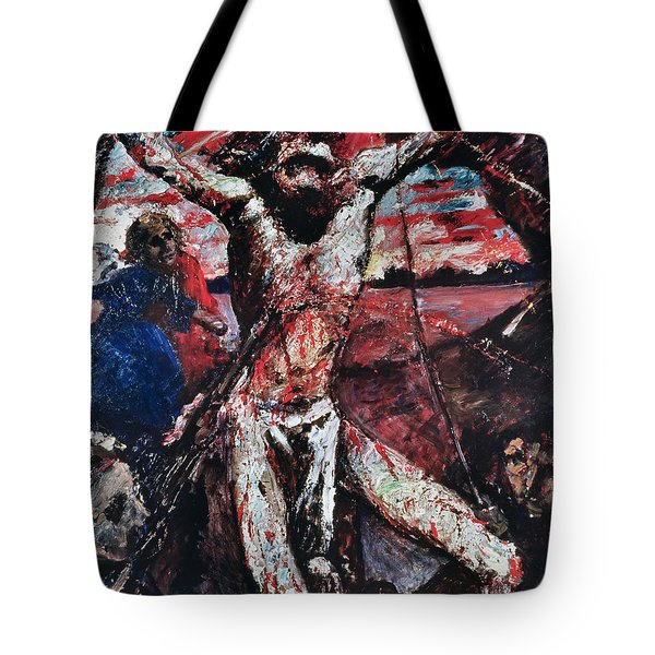 The Red Christ Tote Bag by Lovis Corinth