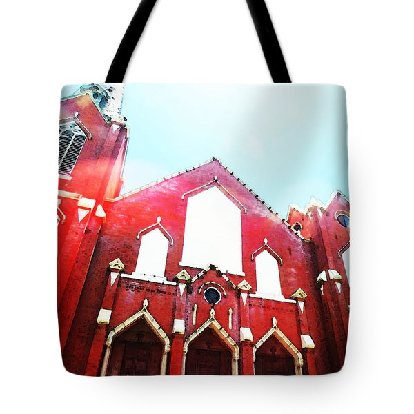 The Red Church By Sharon Cummings Tote Bag by Sharon Cummings