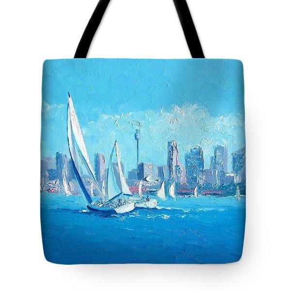 The Regatta Sydney Habour By Jan Matson Tote Bag by Jan Matson