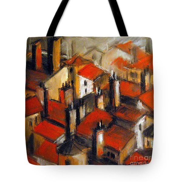 The Roofs Of Lyon Tote Bag by Mona Edulesco