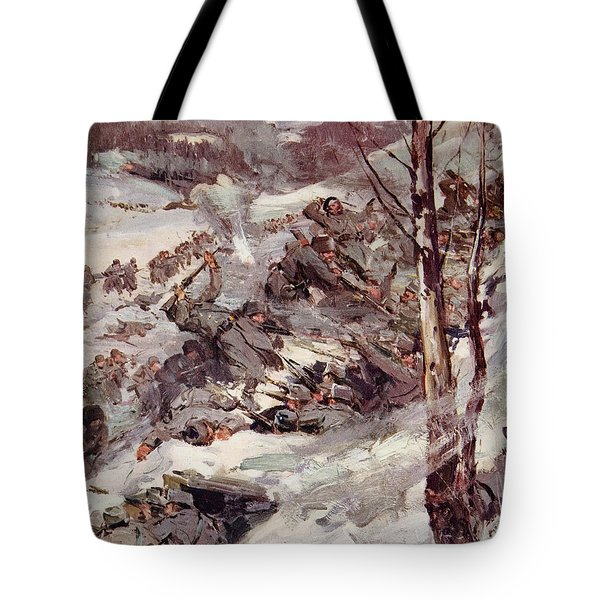 The Russians Fighting Their Way Over The Carpathians Tote Bag by Cyrus Cuneo
