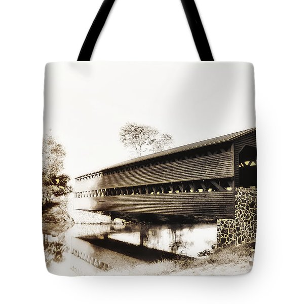 The Sachs Covered Bridge Near Gettysburg In Sepia Tote Bag by Bill Cannon