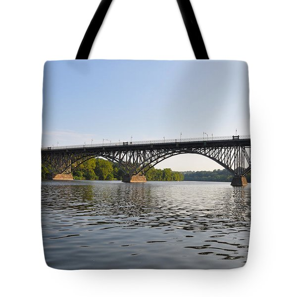 The Schuylkill River and Strawbery Mansion Bridge Tote Bag by Bill Cannon
