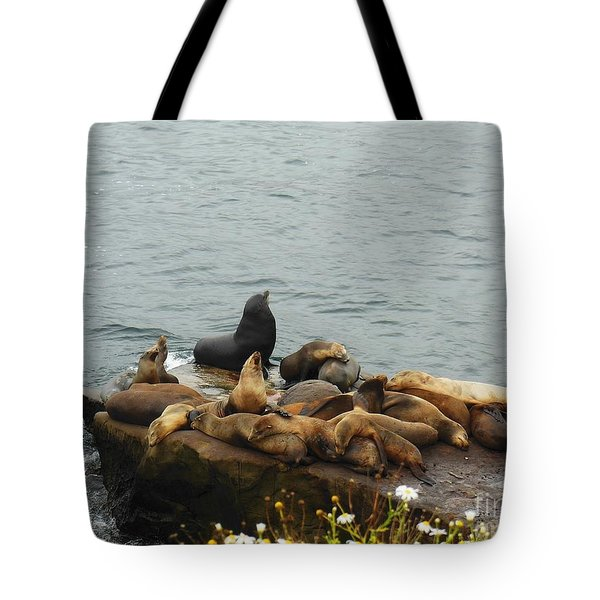 The Sea Lion and His Harem Tote Bag by Mary Machare