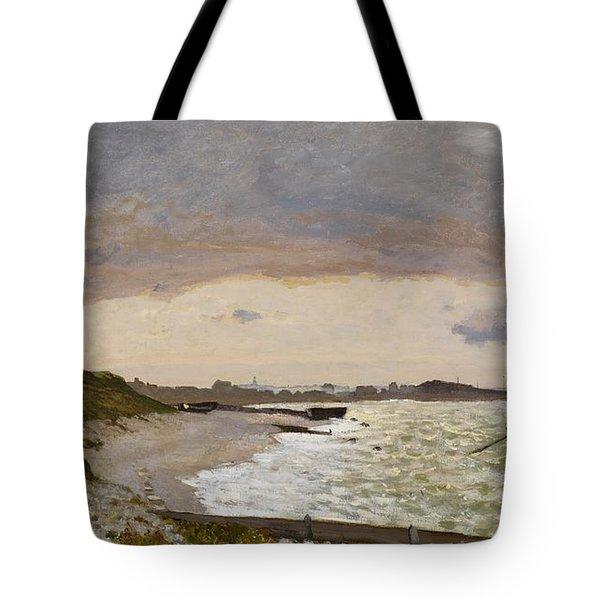 The Seashore At Sainte Adresse Tote Bag by Claude Monet