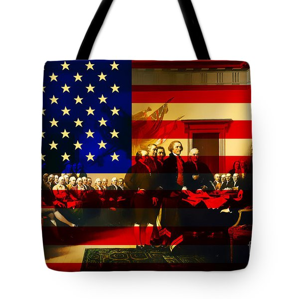The Signing of The United States Declaration of Independence and Old Glory 20131220 Tote Bag by Wingsdomain Art and Photography