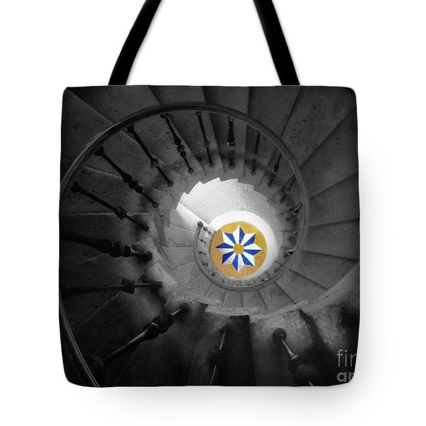 The Spiral Staircase Of Villa Vizcaya Bwcolor Tote Bag by Mike Nellums