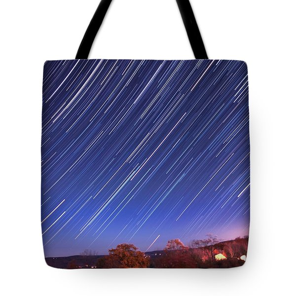 The Star Trail In Ithaca Tote Bag by Paul Ge