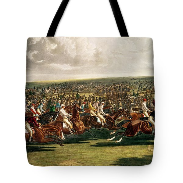 The Start Of The Memorable Derby Of 1844 Tote Bag by Charles Hunt