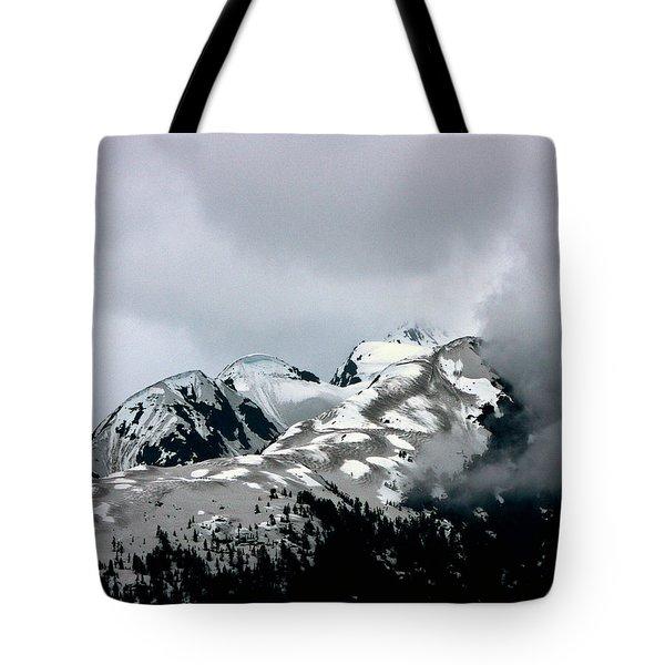 The Storm Rolls Into Glacier Bay Tote Bag by John Haldane
