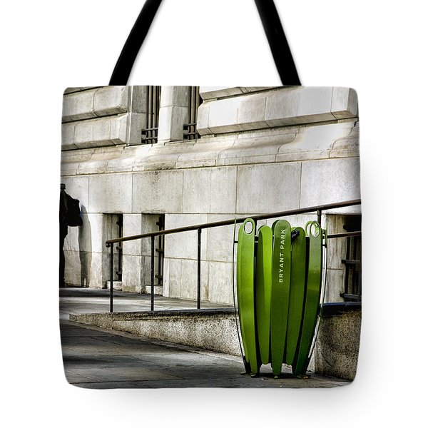 The Story of Him Waiting and a Green Trashcan Tote Bag by Joanna Madloch