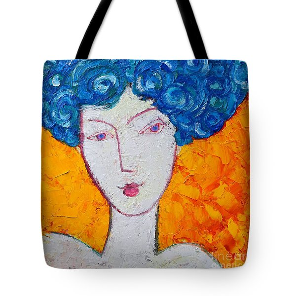 THE STRENGTH OF GRACE EXPRESSIONIST GIRL PORTRAIT Tote Bag by ANA MARIA EDULESCU