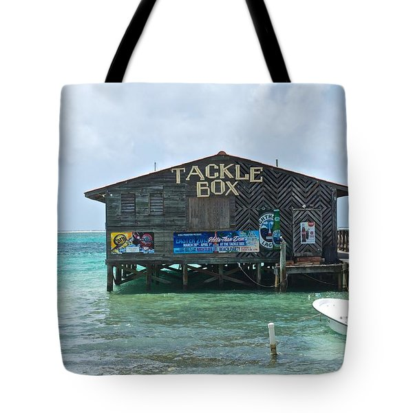 The Tackle Box Sign Tote Bag by Kristina Deane