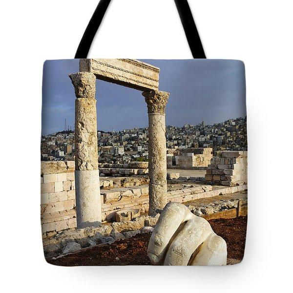 The Temple of Hercules and sculpture of a hand in the Citadel Amman Jordan Tote Bag by Robert Preston
