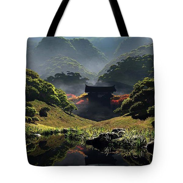 The Temple of Perpetual Autumn Tote Bag by Cynthia Decker