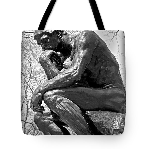 The Thinker In Black And White Tote Bag by Lisa  Phillips