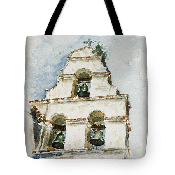 The Three-bell Campanario At Mission San Juan Bautista  Tote Bag by Zaira Dzhaubaeva