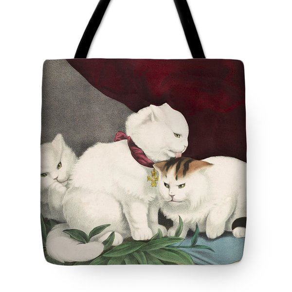 The Three White Kittens Circa 1856 Tote Bag by Aged Pixel
