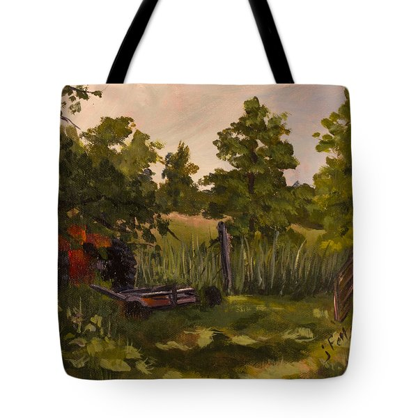 The Tractor By The Gate Tote Bag by Janet Felts