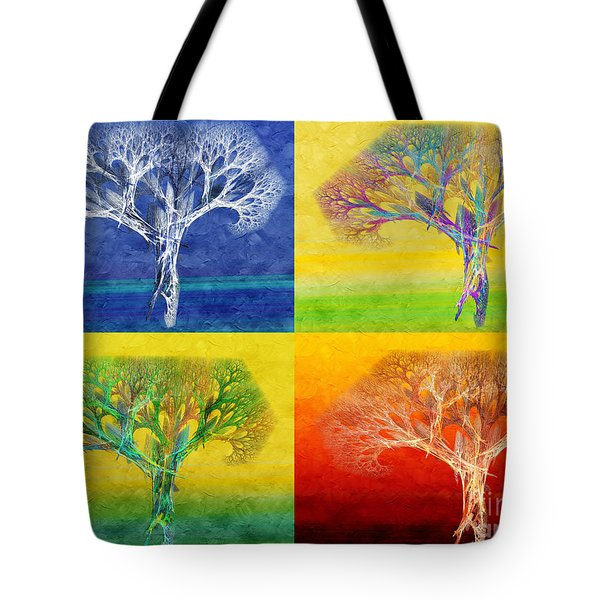 The Tree 4 Seasons - Painterly - Abstract - Fractal Art Tote Bag by Andee Design