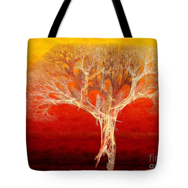 The Tree In Fall At Sunset - Painterly - Abstract - Fractal Art Tote Bag by Andee Design