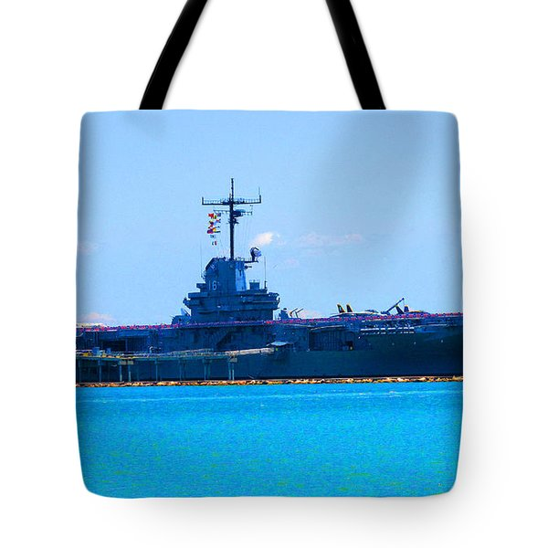 The U S S Lexington The Blue Ghost Tote Bag by Tina M Wenger