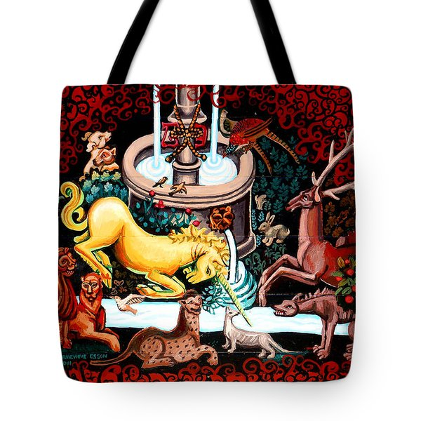 The Unicorn Purifies The Water Tote Bag by Genevieve Esson